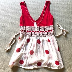 Free People NWOT red polka dot baby doll tank top